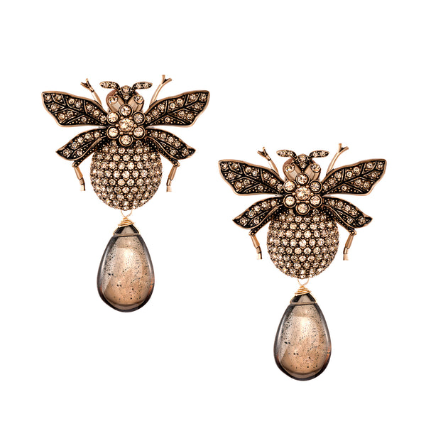 Azaara Smoky Topaz Drop Bumble Bee Earrings