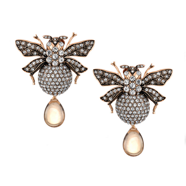 Azaara Whisky Topaz Drop Bumble Bee Earrings