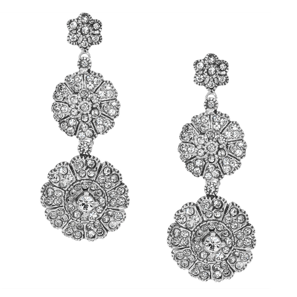 Vintage Silver Plate Double Floral Earrings