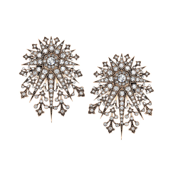 Vintage Celestial Starburst Clip On - Post Stud Earrings