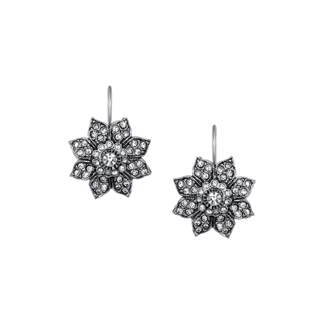 Azaara Vintage Silver Plate Starburst Floral Drop Earrings