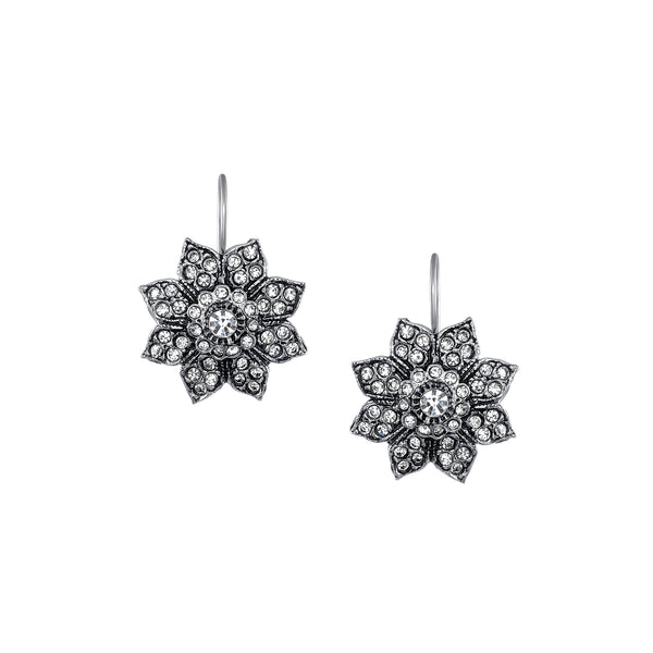 Azaara Silver Plate Vintage Starburst Floral Drop Earrings