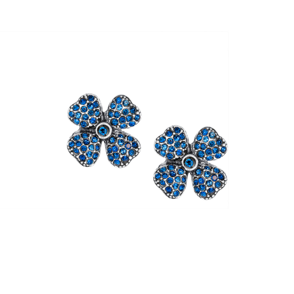 Vintage Four Leaf Clover Silver Plate Sapphire Crystal Studs
