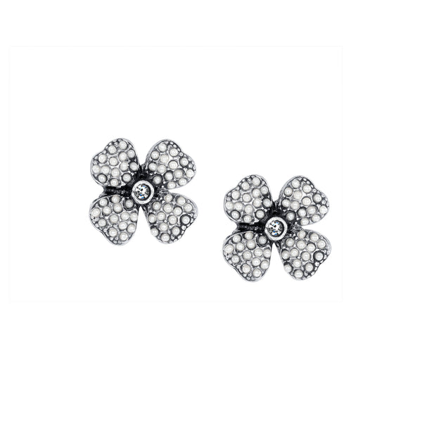 Vintage Four Leaf Clover Silver Plate Pearl Studs