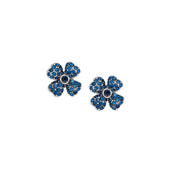 Vintage Petite Four Leaf Clover Silver Plate Sapphire Crystal Studs