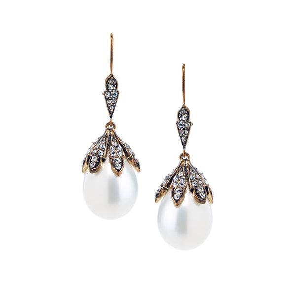 Azaara Vintage Classic Pearl Drop Earrings as seen in Brides Magazine