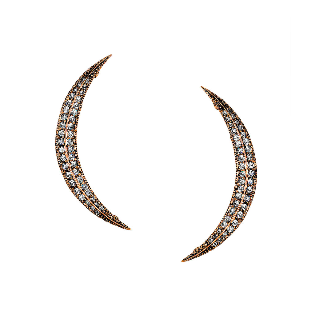 Vintage Celestial Crescent Moon Studs as featured in Martha Stewart Weddings Magazine