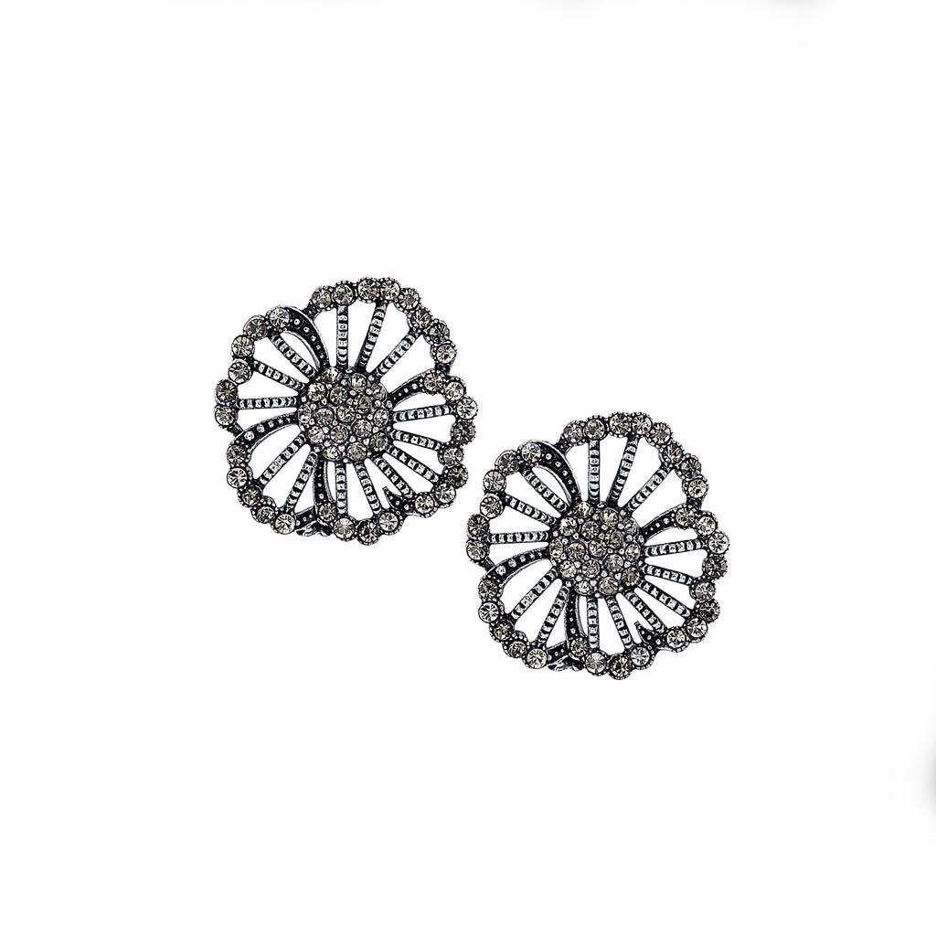 Azaara Silver Plate Vintage Floret Stud Earrings