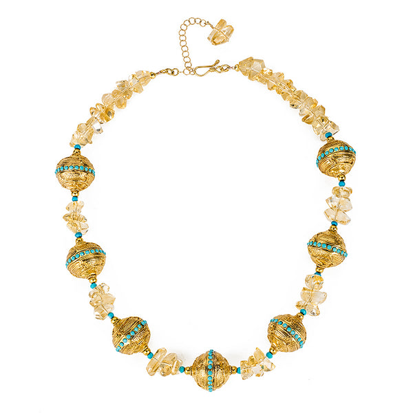 Florentine Ball Necklace with Citrine and Swarovski Turquoise