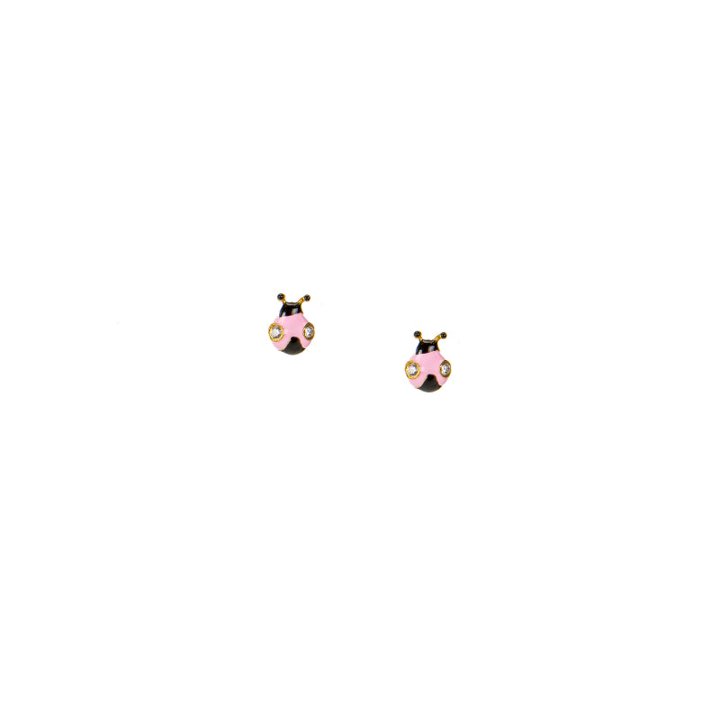 Delicate Pink Ladybug Stud Earrings