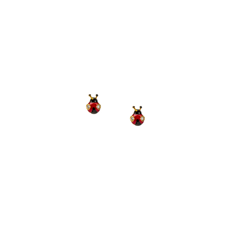 Delicate Red Ladybug Stud Earrings