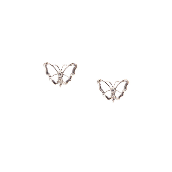 Luminous Sterling Silver Butterfly Stud Earrings