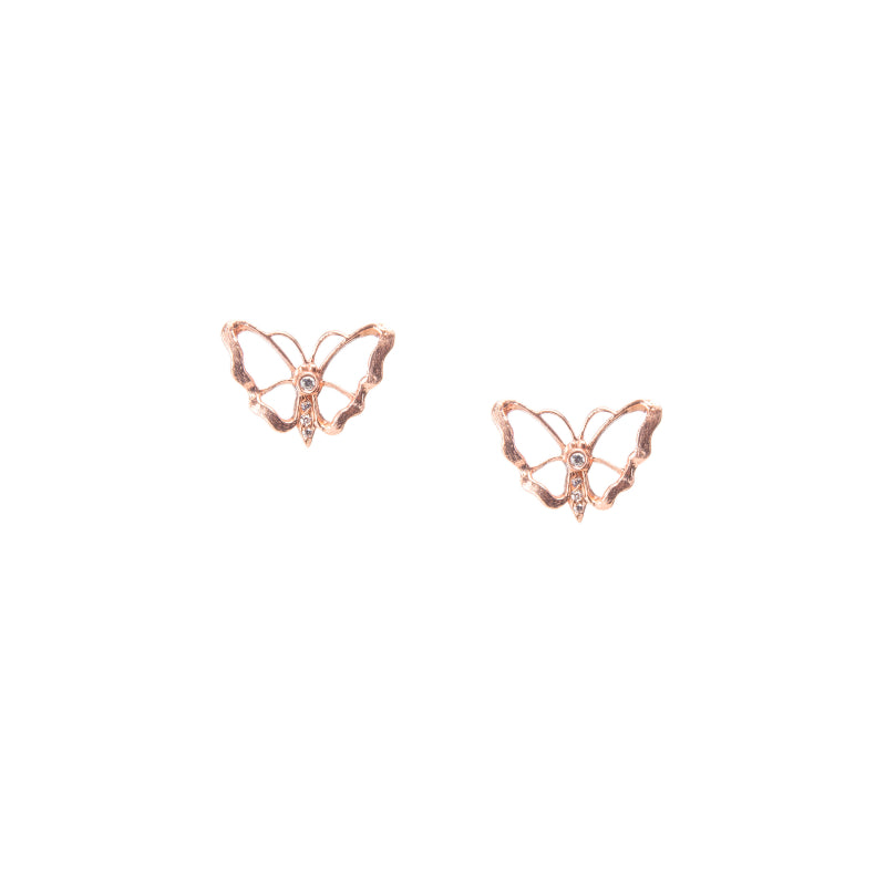 Luminous Rose Gold Butterfly Stud Earrings
