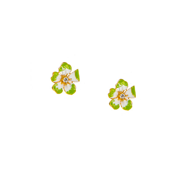 Large Enchanting Green Amaryllis Stud Earrings
