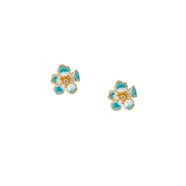 Large Enchanting Sky Blue Amaryllis Flower Stud Earrings
