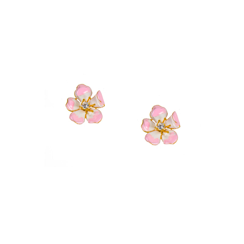 white flower std teardrop stud product gold earrings rhinestone hollow