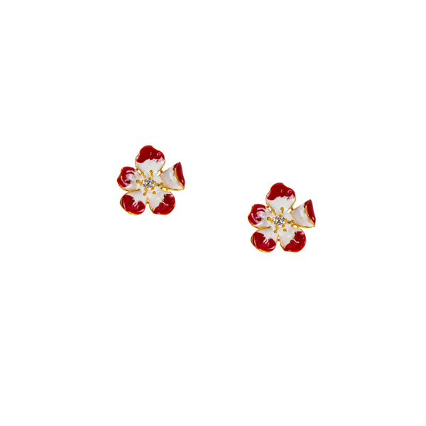 Large Enchanting Red Amaryllis Flower Stud Earrings