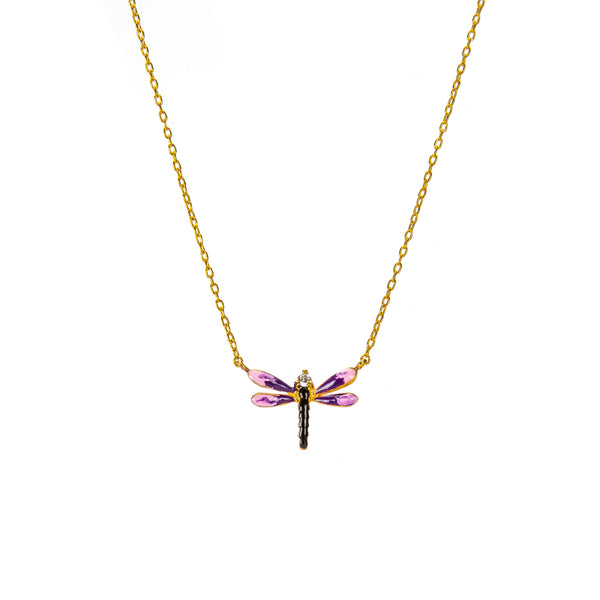 Pink Dragonfly Pendant Necklace
