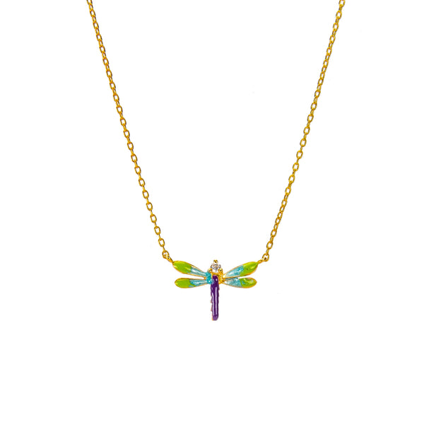 Kaleidoscopic Dragonfly Pendant Necklace