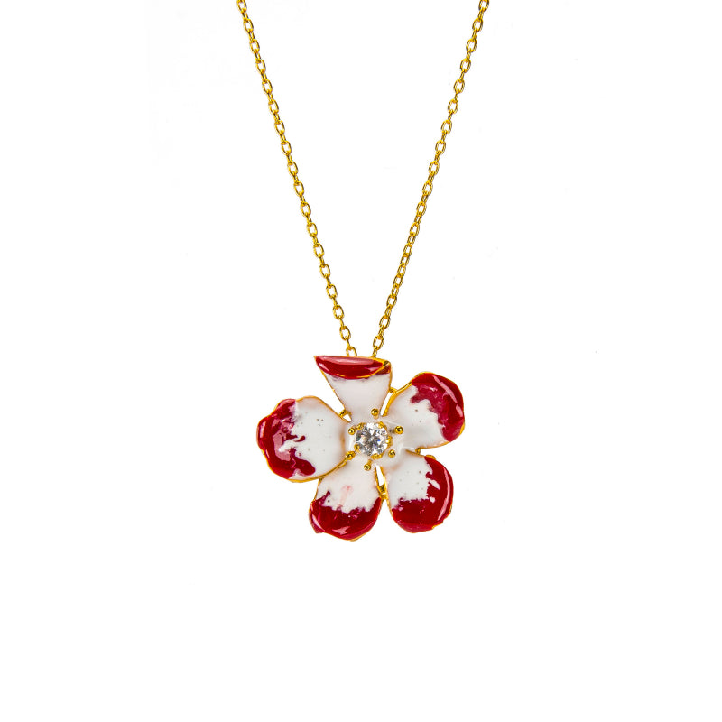 Large Red Amaryllis Flower Pendant Necklace