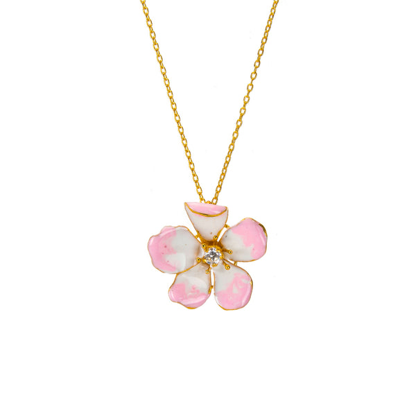 Large Pink Amaryllis Flower Pendant Necklace