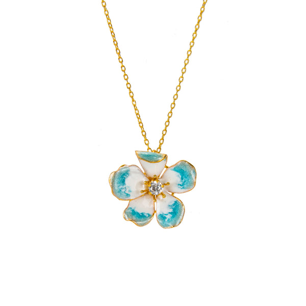 Large Sky Blue Amaryllis Flower Pendant Necklace