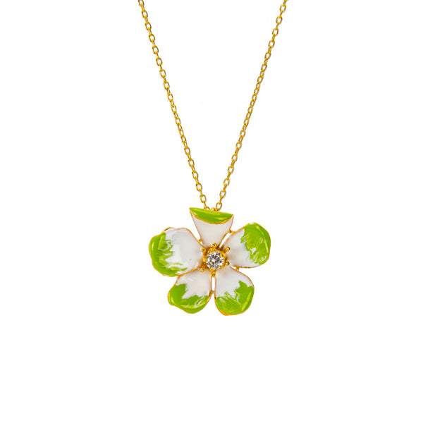 Large Green Amaryllis Flower Pendant Necklace
