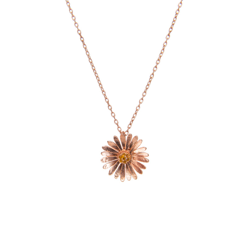 Effortless Rose Gold Daisy Pendant Necklace