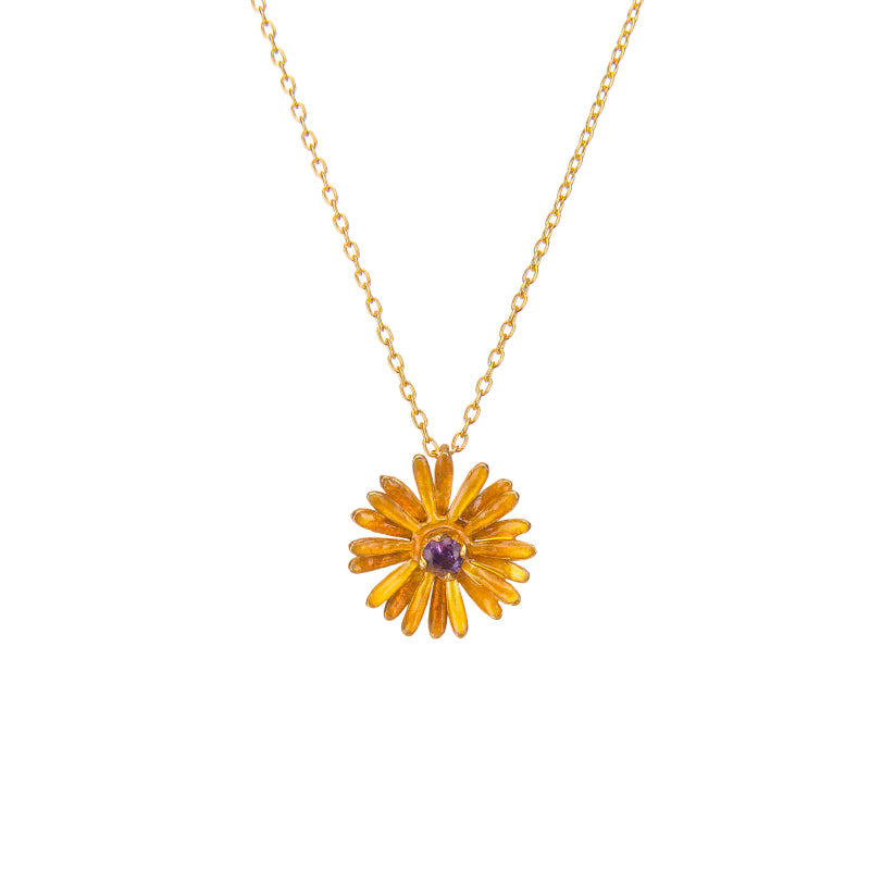 Effortless Amy CZ Daisy Pendant Necklace