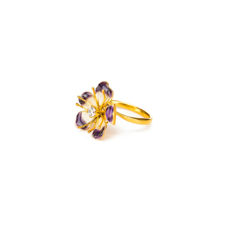 Enchanting Violet Amaryllis Flower Ring