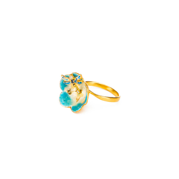 Azure Dragonfly Flower Nature Ring