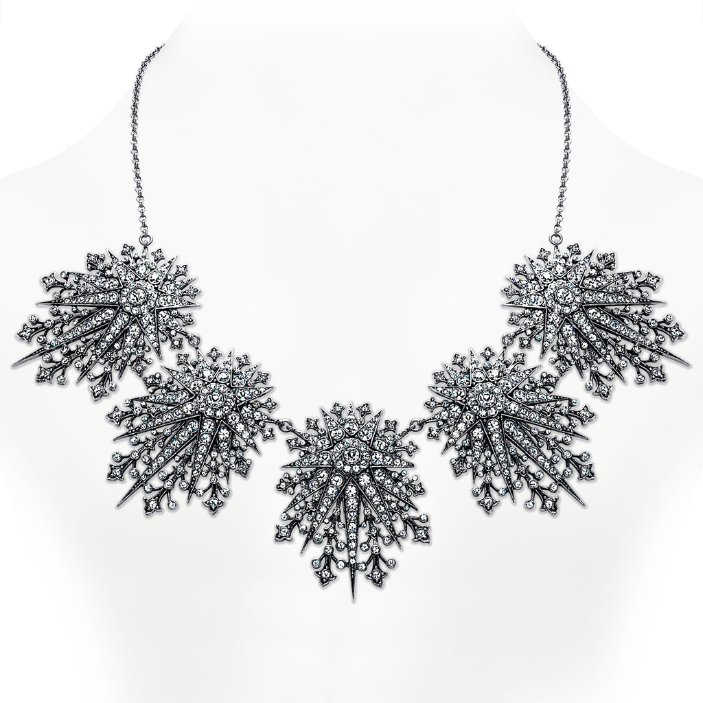 Vintage Silver Plate Starburst Statement Necklace