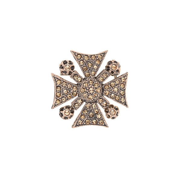 Small Vintage Champagne Maltese Cross Brooch