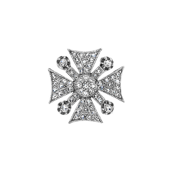 Small Vintage Silver Plate Maltese Cross Brooch
