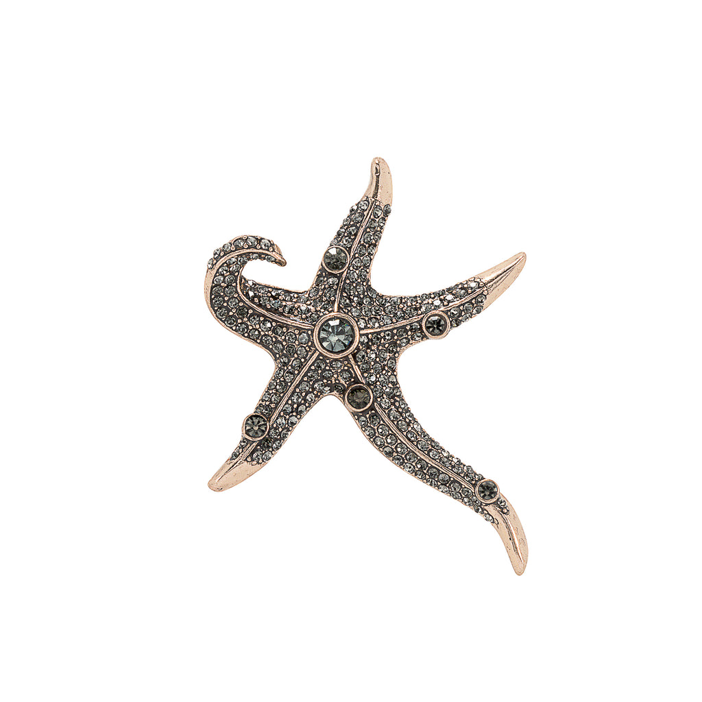 Vintage Black Diamond Starfish Brooch
