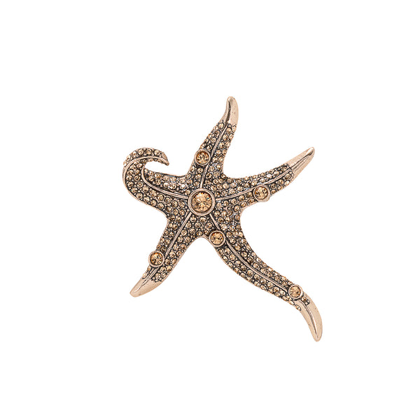 Vintage Champagne Starfish Brooch