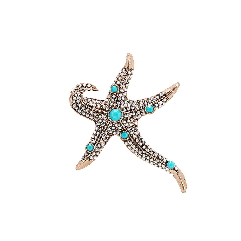 Vintage Crystal and Turquoise Starfish Brooch
