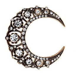 Large Crescent Moon Vintage Brooch