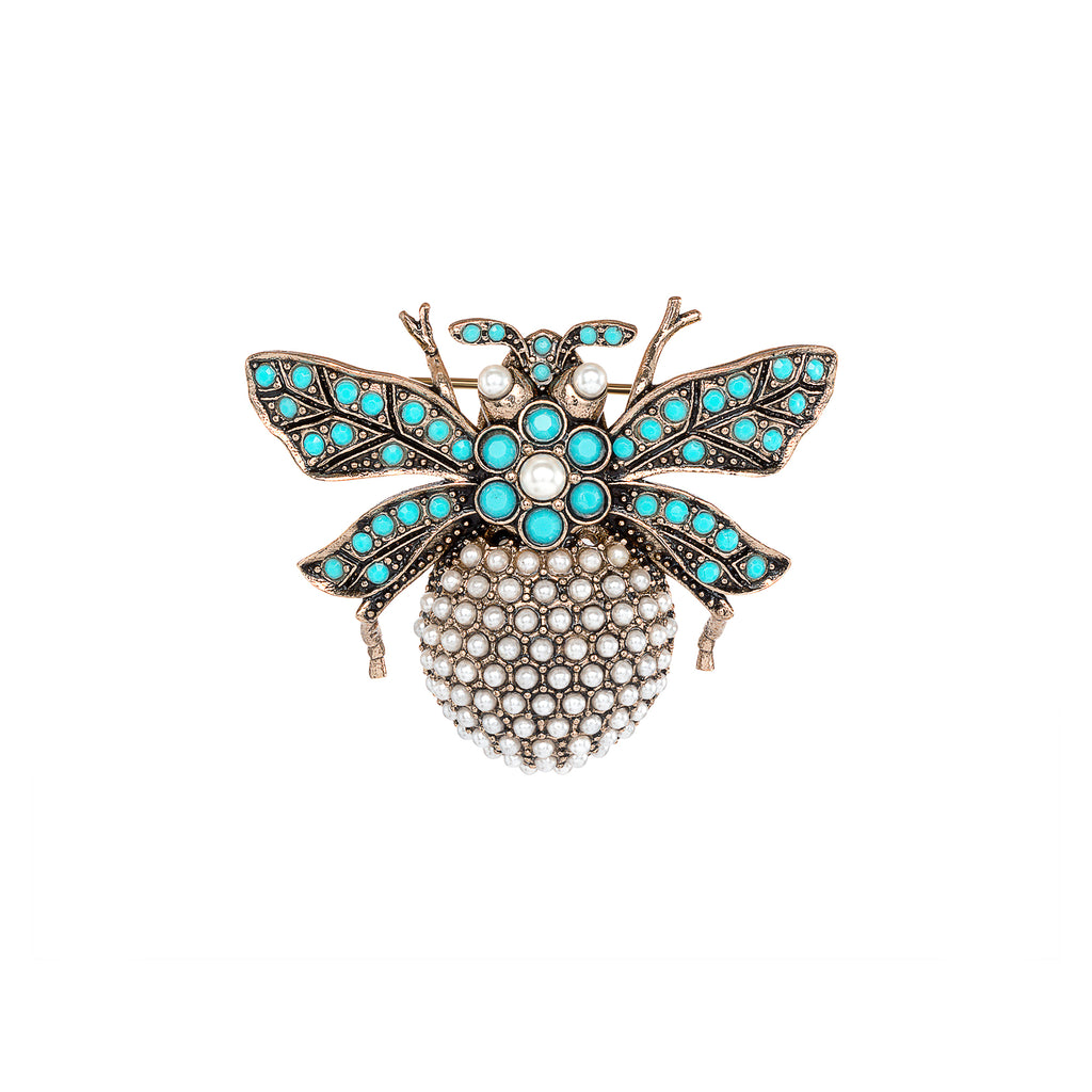 Vintage Pearl and Turquoise Bumble Bee Brooch