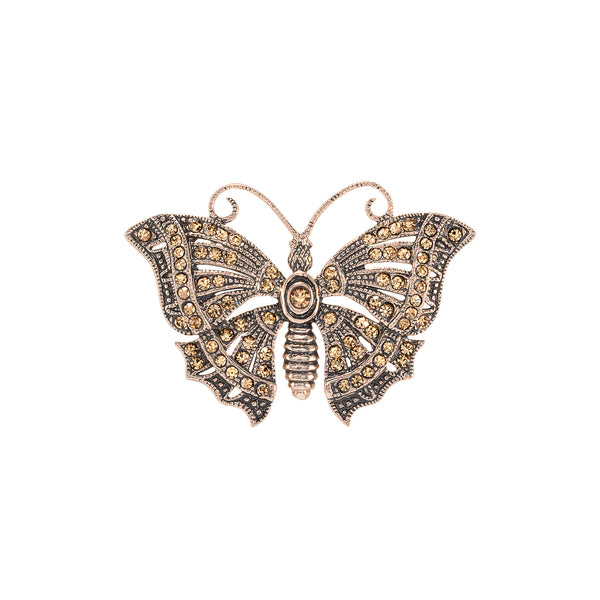Vintage Champagne Butterfly Brooch