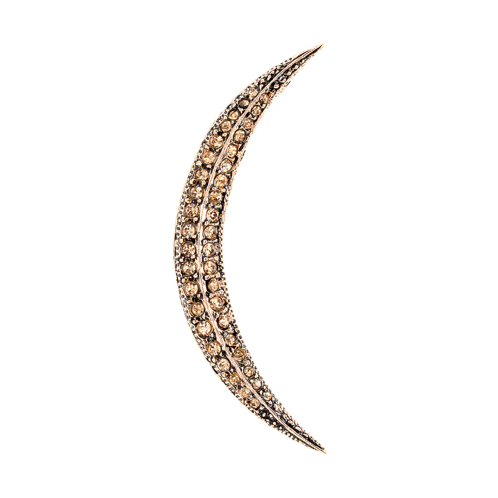 Vintage Champagne Crescent Moon Brooch