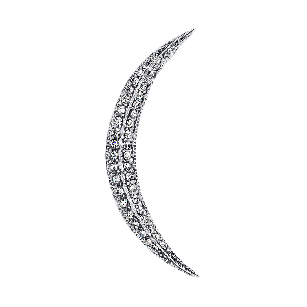 Vintage Silver Plate Crescent Moon Brooch