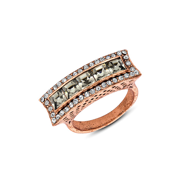 Azaara Vintage Baguette Crystal Band Ring
