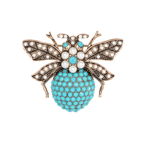 Vintage Turquoise and Pearl Bumble Bee Brooch
