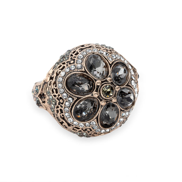 Vintage Black Diamond Floral Bud Ring