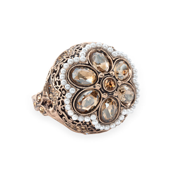 Vintage Champagne Pearl Floral Bud Ring