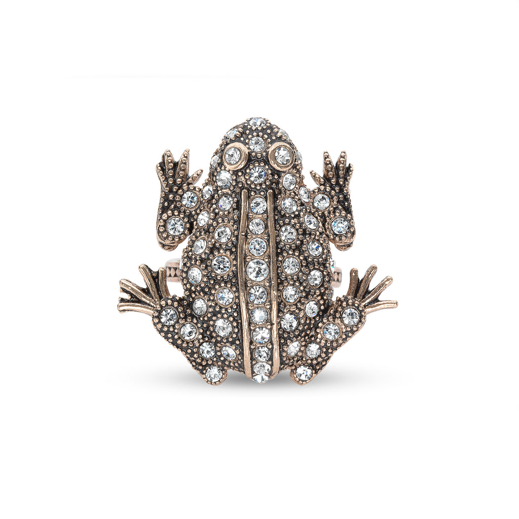 Vintage Crystal Amazon Frog Ring
