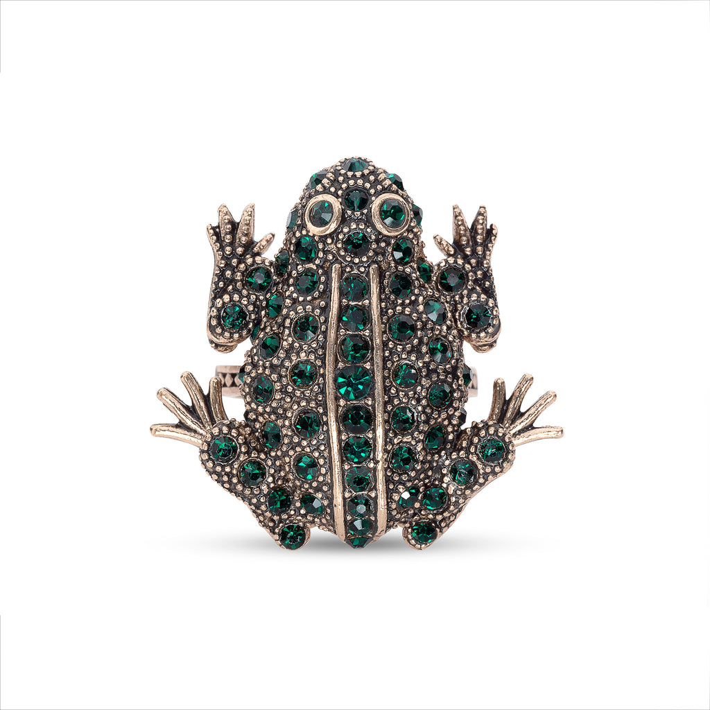 Vintage Emerald Crystal Irish Frog Ring
