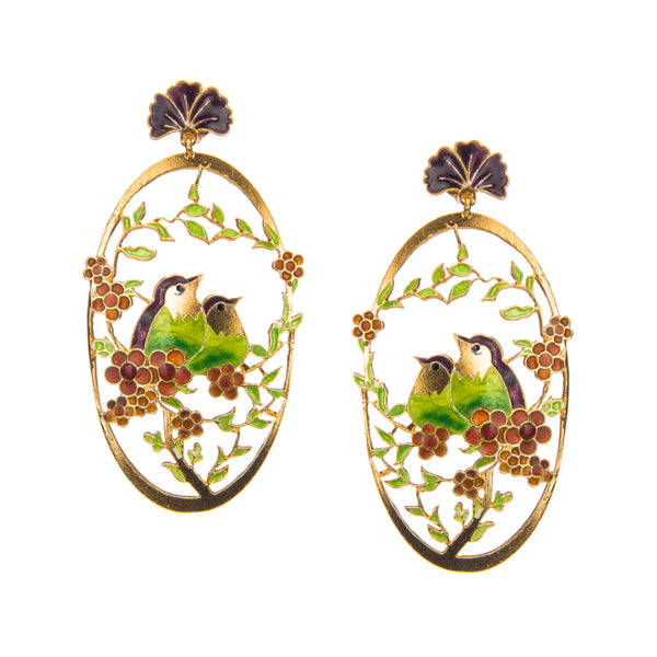 Pink Enamel Gazing Birds Earrings