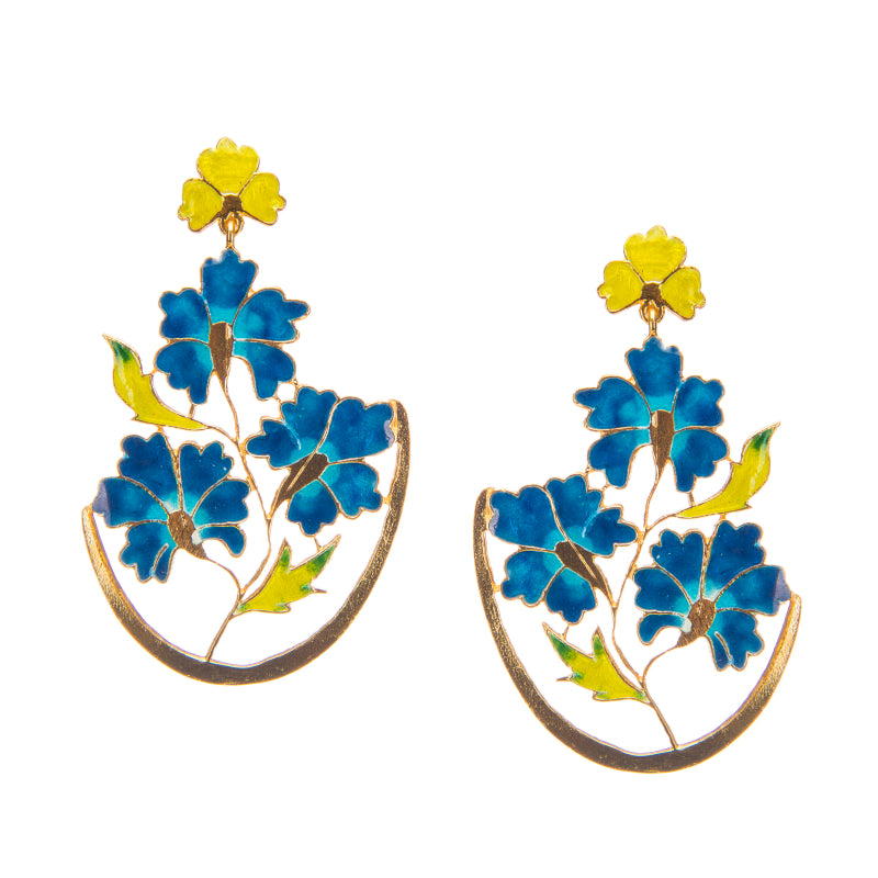 Royal Blue Heavenly Flower Earrings